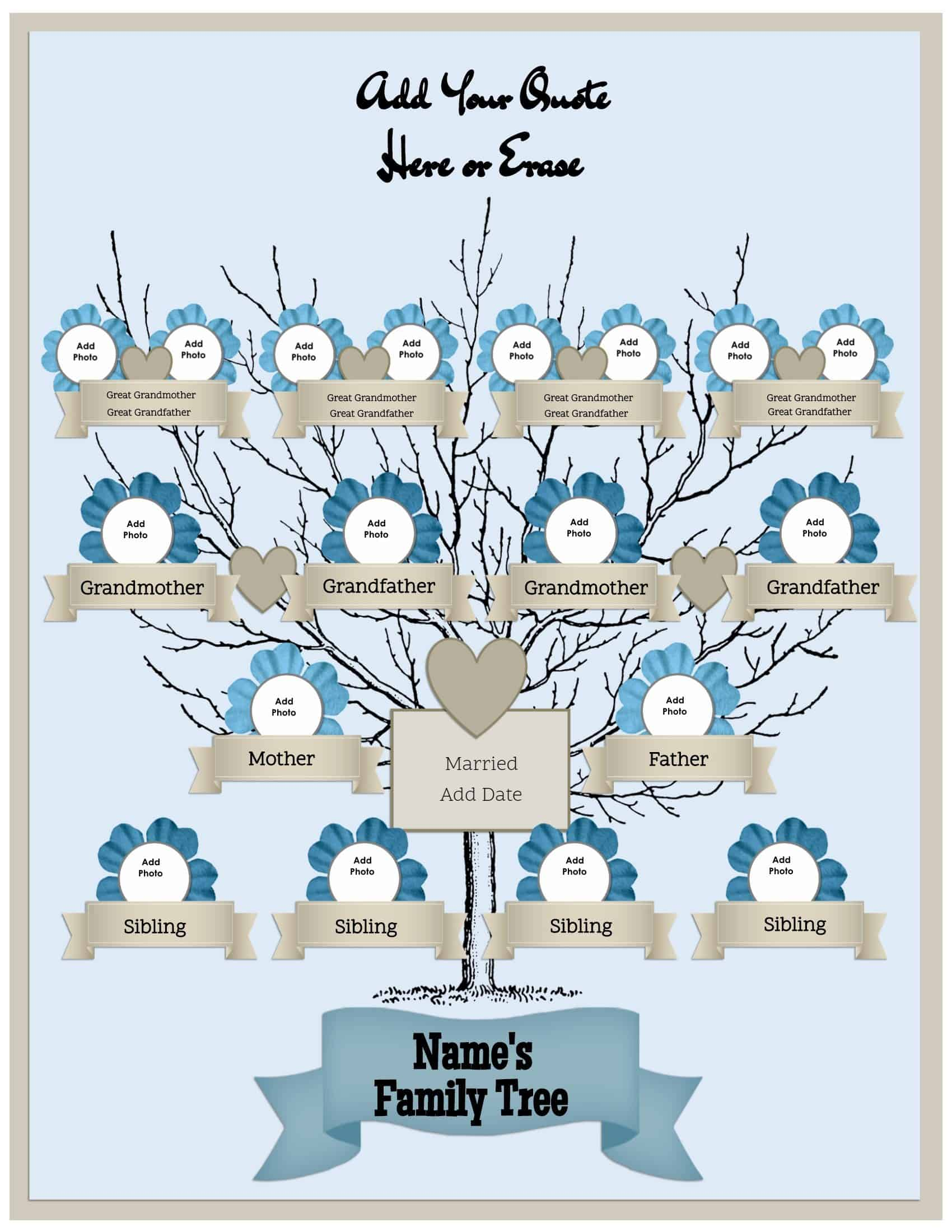 4 generation family tree template free to customize  u0026 print