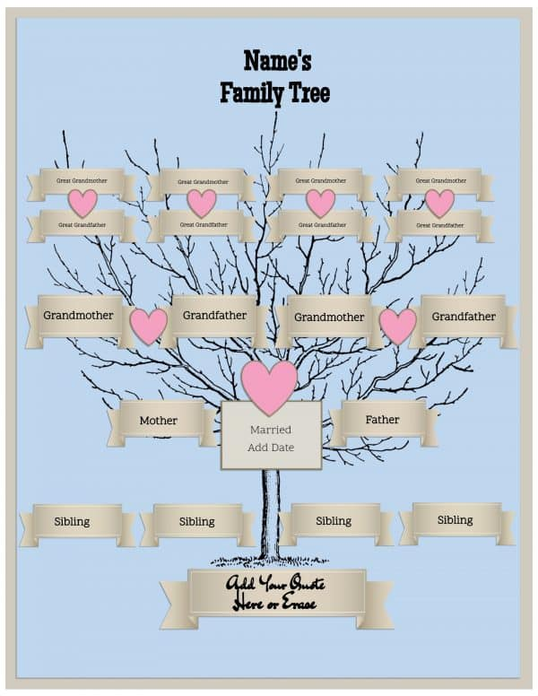 4 generation family tree template free