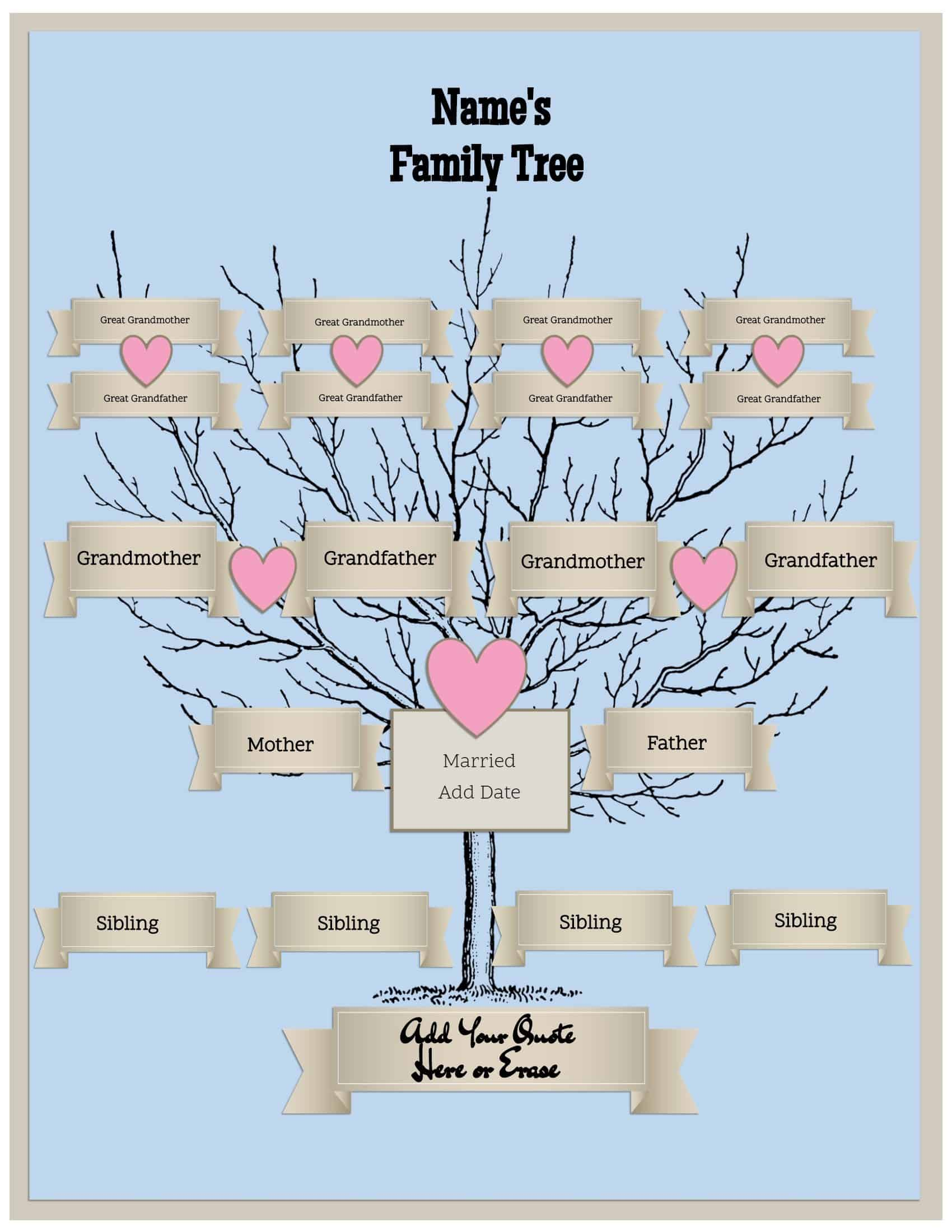 This is a graphic of Rare Family Tree Printout